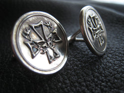 Custom Sterling Silver Cufflinks Heraldic Coat of Arms with Stag and Cross - EXAMPLE