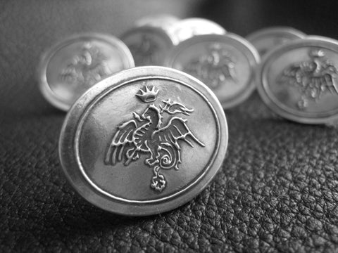 Sterling Silver Cufflinks Heraldic Dragon Coat of Arms from City of Siena, Italy - Custom - EXAMPLE