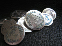 EXAMPLE  Custom Blazer Buttons in Sterling SILVER with Custom Monogram, Wedding, or Business Logo