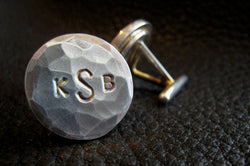 NYF  Monogrammed Cuff Links Cufflinks in Sterling Silver with Hammered Finish 25th Anniversary Gift