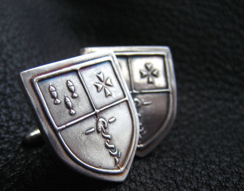 EXAMPLE - Sterling Silver  Cuff  Links Cufflinks with Custom Designed Crest or Logo