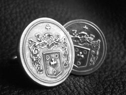 Custom Sterling Silver Cufflinks with Coat of Arms or Family Crest