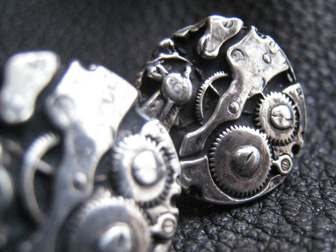 Watch Gears Cufflinks in Sterling Silver- Difference Engine - Steampunk
