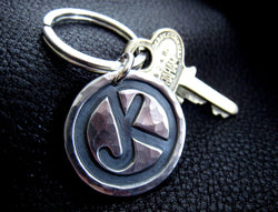 Ranch Brand Cattle Brand Keychain in Hand Hammered Sterling Silver