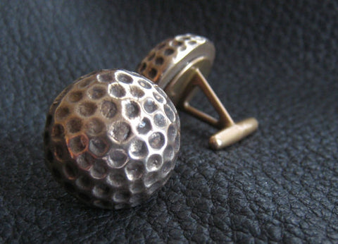Solid Bronze Golf Ball Cufflinks with Bright Polished Finish