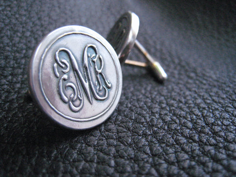 Vine  Monogram Intertwined Linked Script Letters  Cuff Links Cufflinks in Sterling Silver