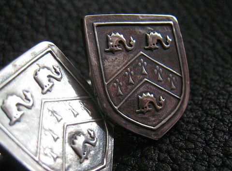 Cuff  Links Cufflinks in Sterling Silver with  Crest  Coat of Arms - Custom - EXAMPLE