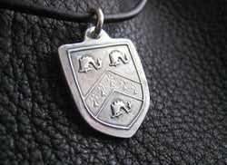 Pendant Necklace in Sterling Silver with Family Crest  Coat of Arms Heraldic Motif Custom - EXAMPLE