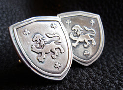 Custom Cufflinks in Sterling Silver with Lion Passant Heraldry Crest - EXAMPLE