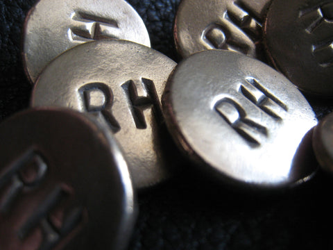 Monogrammed Solid Bronze Blazer Buttons Set - Smooth Finish - Two Initials