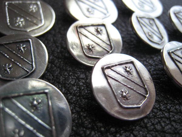 Custom Blazer Buttons Sterling Silver Coat of Arms Family Crest 25th Anniversary Wedding Gift