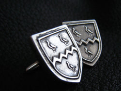 Custom Cufflinks in Sterling Silver with Family Crest Coat of Arms Heraldry Design - EXAMPLE