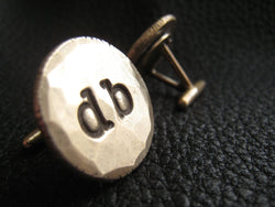 Golden Bronze Cuff Links Cufflinks Monogrammed with Two Lower Case Initials