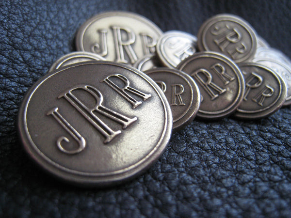 Solid Bronze Monogrammed Blazer Button Set - Larger Center Initial in Roman Letters or Other Font