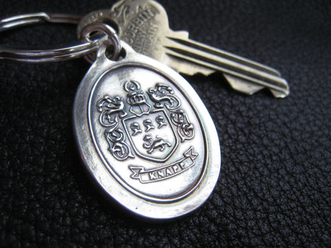 Sterling Silver Keychains Key Fob Ring with Family Crest Family Reunion 25th Anniversary