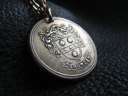 Family Crest Coat of Arms Heraldry Medallion Pendant in Solid Bronze