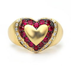 Domed Heart Signet Ring
