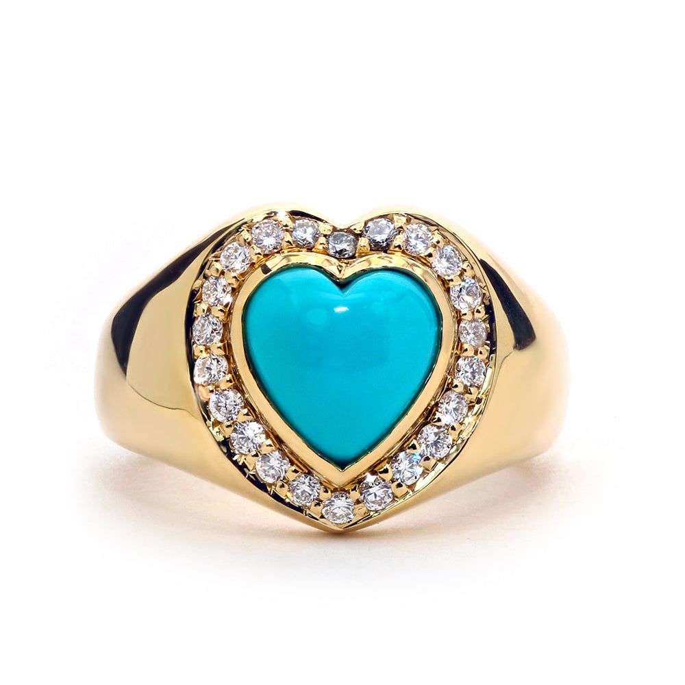 Sleeping Beauty Heart Signet Ring