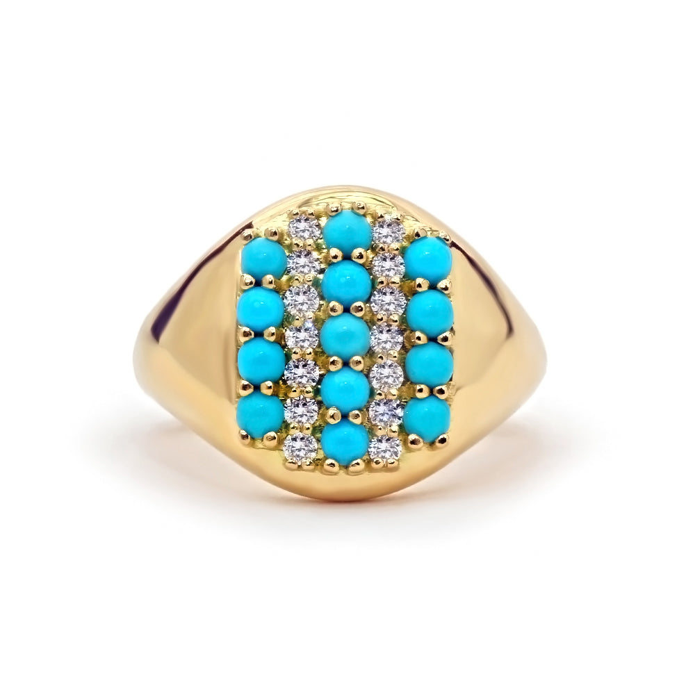Sleeping Beauty Turquoise Signet Ring