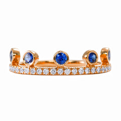 Blue Sapphire Crown Ring