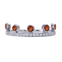 Orange Sapphire Crown Ring