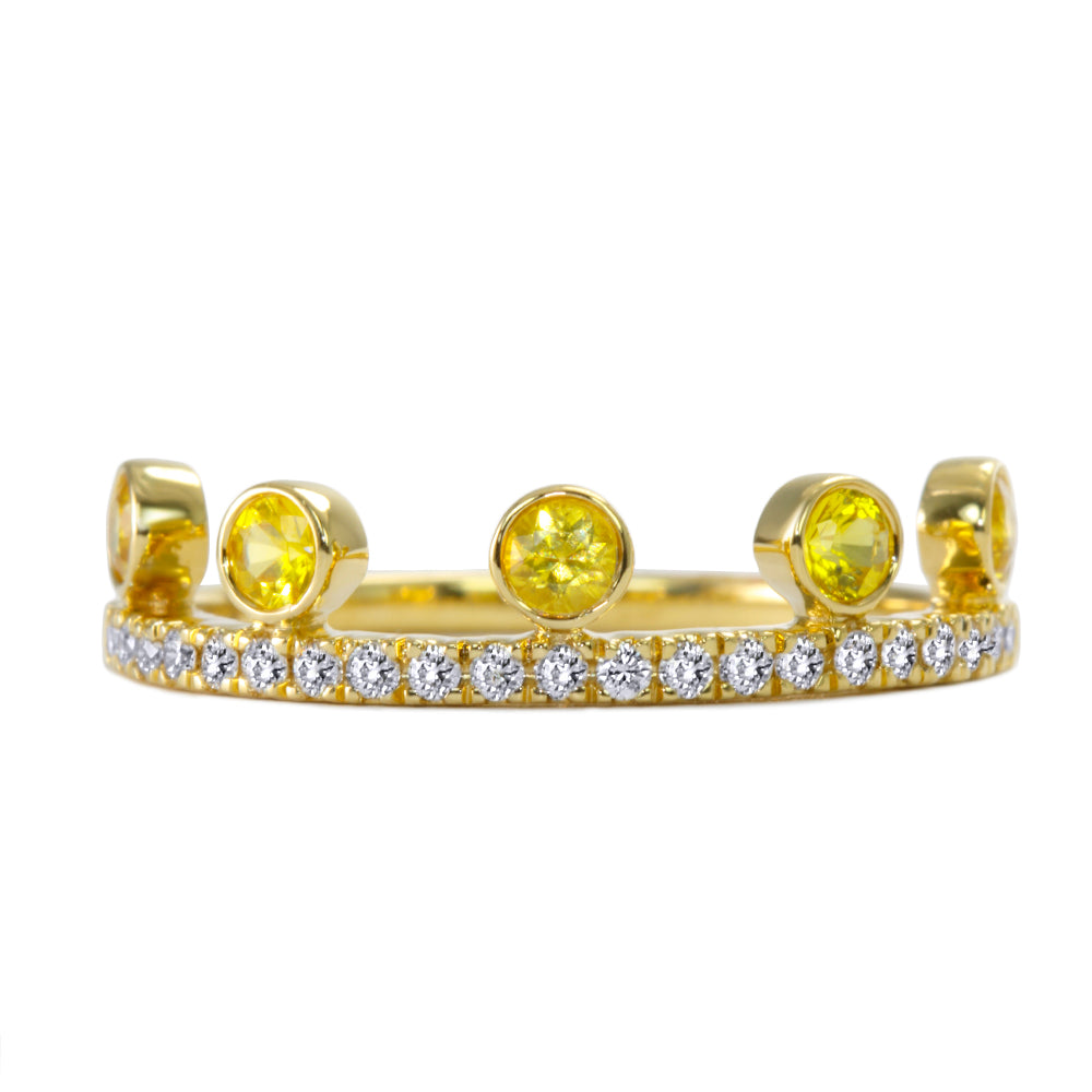 Yellow Sapphire Crown Ring