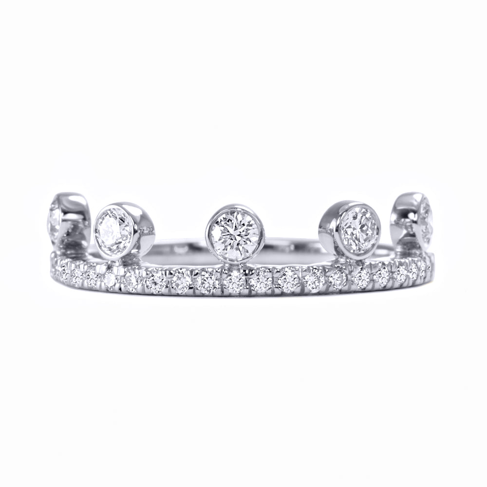 White Diamond Crown Ring