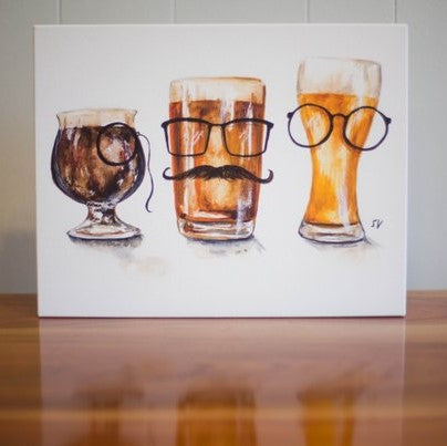Watercolor Beer Glasses- Gallery Wrapped Canvas