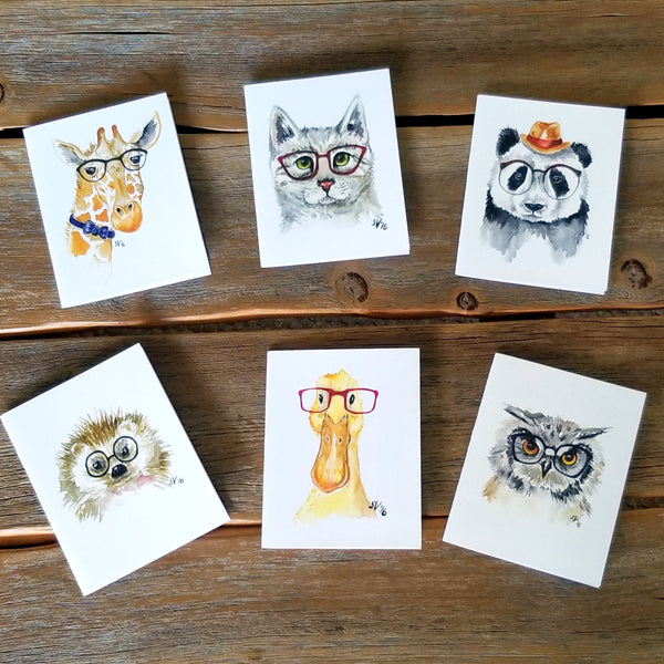 Watercolor Hipster Animal Notecards