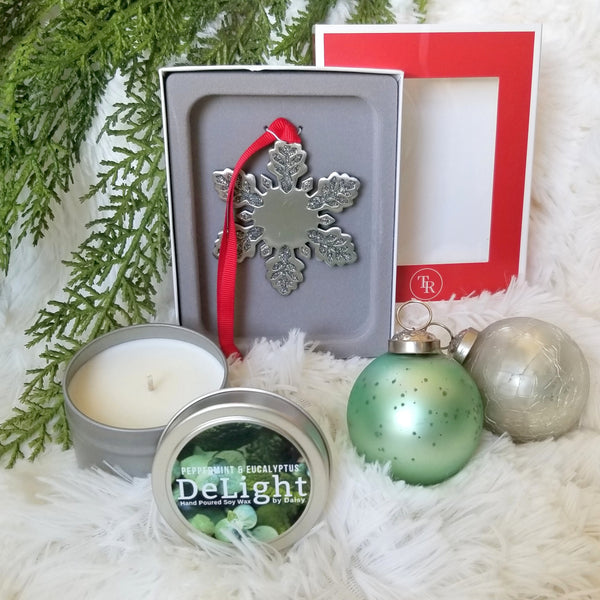 Snowflake Ornament and Holiday Candle Combo