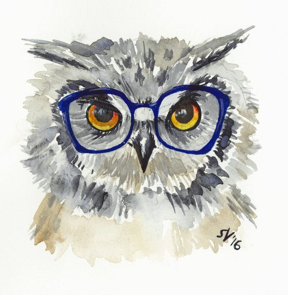 Watercolor Hipster Animals- Gallery Wrapped Canvas 8x10