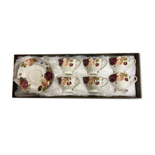 12 PCS New Bone China Tea Cup and Saucers Set w/ Beautiful Floral Rose Design