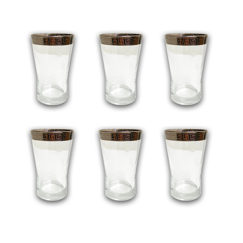 6 PCS GLASS CUPS (VERSACE INSPIRED DESIGN) -SILVER (Tall)