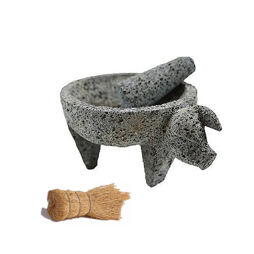 Molcajate Stone- Pig Face (Hecho En Mexico) w/ Scrubber