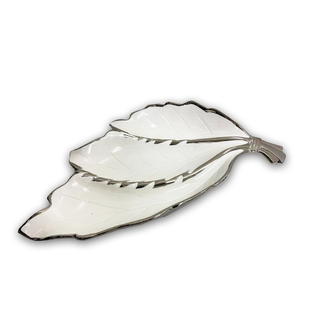 Porcelain Decorative Leaf Tray-White/Silver