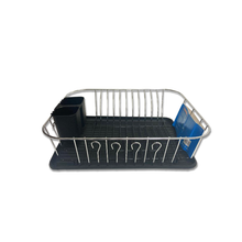 1 Tier Chrome Plated and Plastic Counter Top Drying Dish Rack-Black
