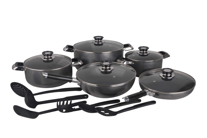 16 PC HEALTHY NON STICK COOK WARE SET W/ GLASS COVER