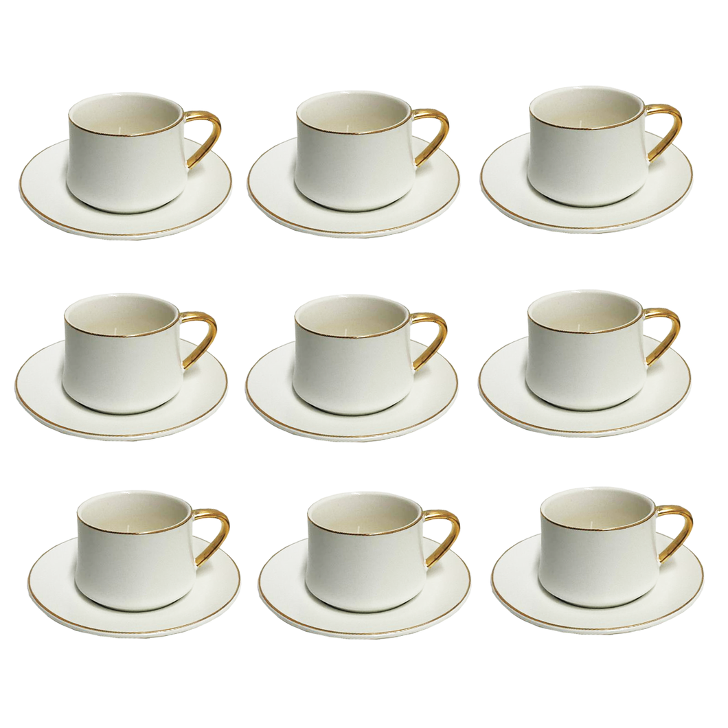 12 Piece Coffee/Tea Set (6 Sets)- Matte White w/ Gold