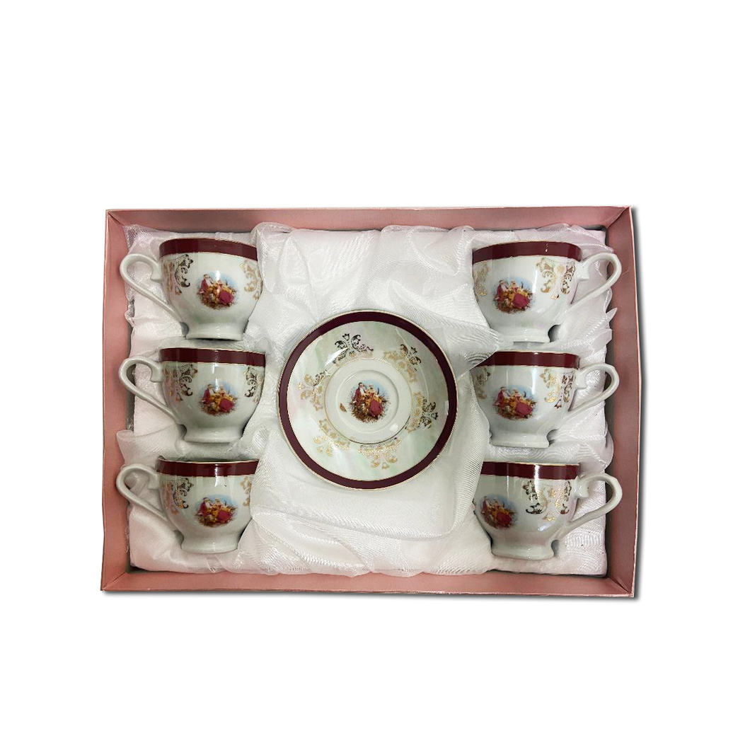 12 PCS Tea Set w/ Beautiful Unique Design