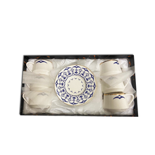 12 Piece Turkish Coffee Cup and Saucer (6 Sets)-White & Blue
