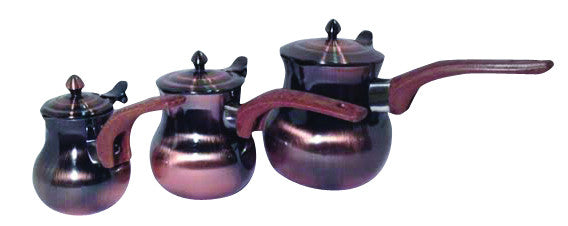 3 PC TURKISH STAINLESS STEEL COPPER FINISHING COFFEE WARMER W/ COVER