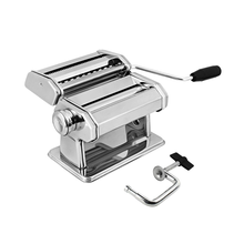 Stainless Steel Manual Pasta Maker Machines | Perfect for Professional Homemade Spaghetti and Fettuccini | Includes Removable Handle and Clamp (Silver)