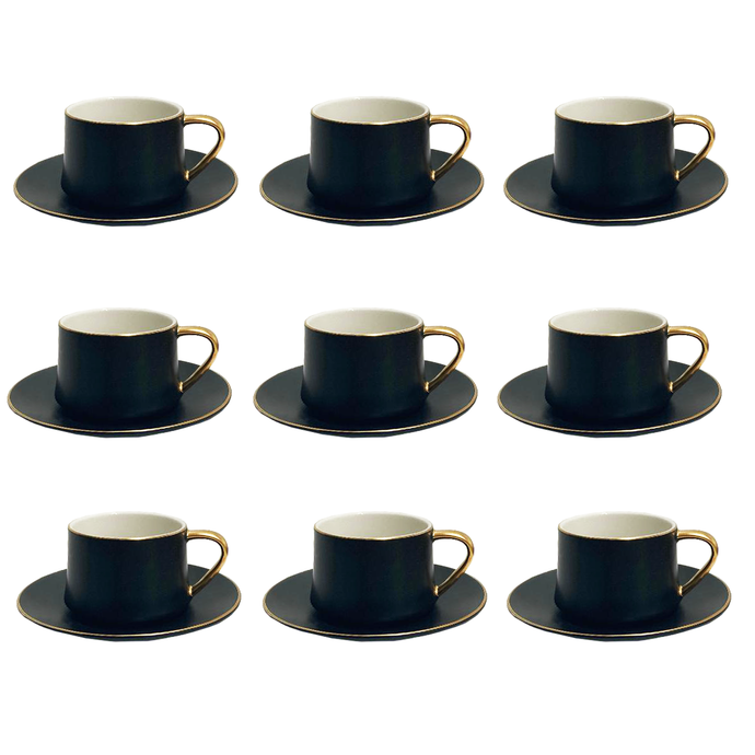 12 Piece Coffee/Tea Set (6 Sets) -Matte Black w/ Gold