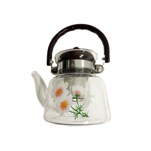 0.8LT Glass Coffee & Tea Pot w/ Flower Design
