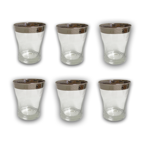 6 PCS GLASS CUPS (VERSACE INSPIRED DESIGN) -SILVER