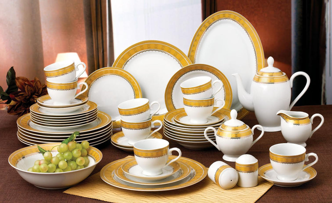 49 PC DINNER SET  GOLD DISH WASHER SAFE NEW