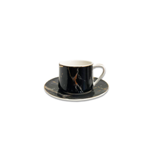 12 Piece Turkish Coffee Cup and Saucer (6 Sets)-Black & Gold