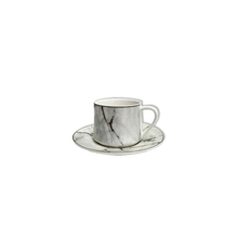 12 Piece Turkish Coffee Cup and Saucer (6 Sets)-White & Silver