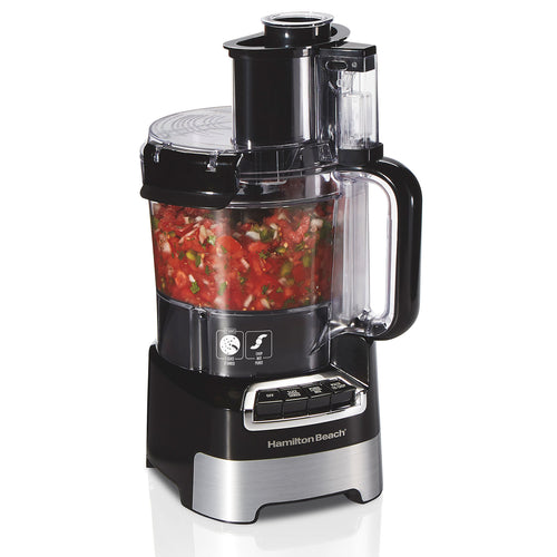 Hamilton Beach 10-Cup Stack & Snap Food Processor with Big Mouth, Black & Stainless