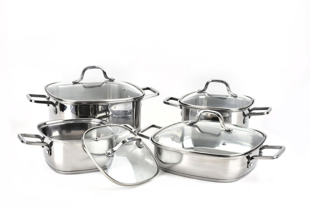 8 PC COOK WARE STAINLESS STEEL 18/10 SQUARE SHAPE W/ GLASS COVER